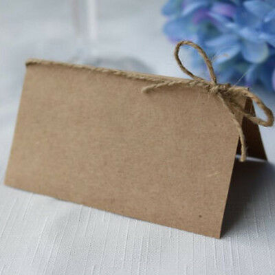 50x Vintage Blank Kraft Paper Place Name Cards Wedding Parties Table Cards