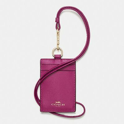 New Coach Crossgrain Leather Id Lanyard Case Holder Badge Fuchsia Pink  F57311