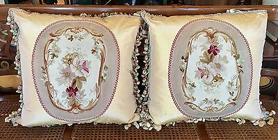 Pair of Antique Aubusson Textile Tapestry Pillow w Tassel Trim & Silk Back