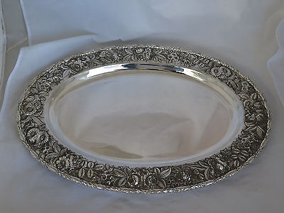 Antique S. Kirk & Son Inc. Sterling Hand Decorated Repousse Massive Tray
