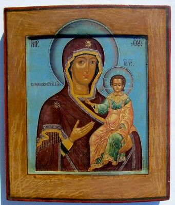EARLY 19th CENTURY ANTIQUE RUSSIAN ICON of SMOLENSK VIRGIN - MSTERA SCHOOL