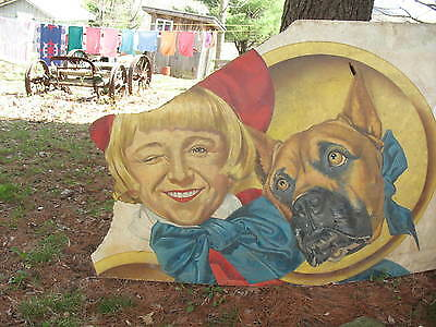Old Large Fiberboard Unique Hand Painted Buster Brown & Tige Advertising Sign
