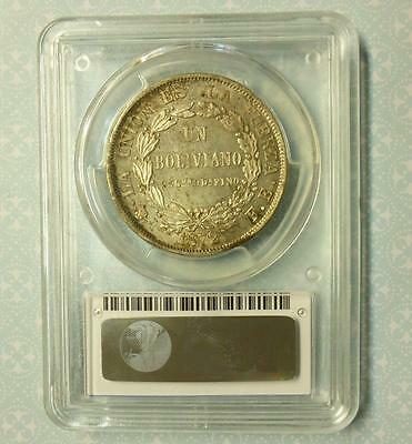 1872 PTS Boliva PCGS MS63 (Tough pop of 4) BOLIVIANO Silver  FE KM-160.1 , BU