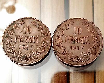 2 x 1917 Finland 10 Pennia Coins - Attractive Detailed Coins