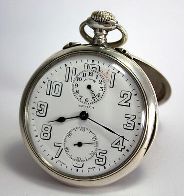 VINTAGE EARLY ZENITH MILITARY swiss made SILVER TRAVEL ALARM WATCH POCKET WATCH