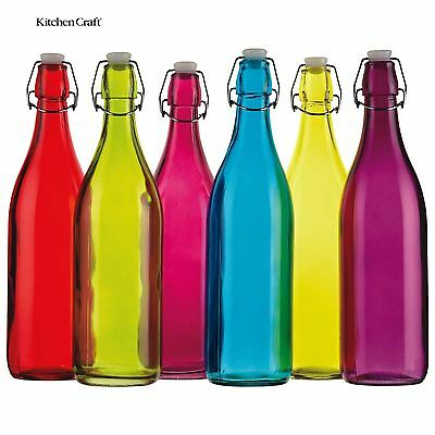 KitchenCraft Colourworks 1 Litre Glass Bottle Random Colour CWBOT1LASTD