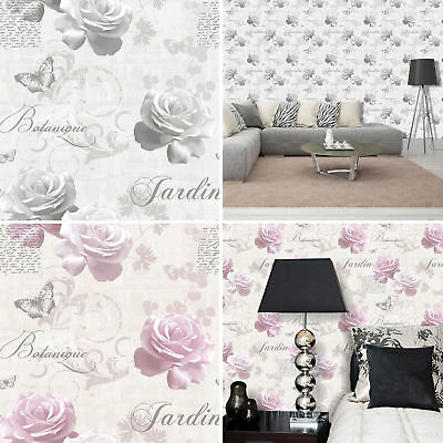 Flower Wallpaper Roses Floral Butterflies Typography Metallic Botanical Muriva