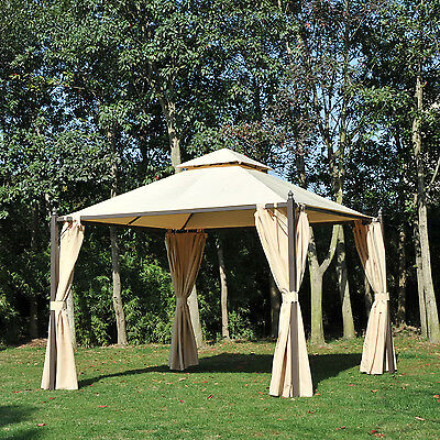 Outsunny Gazebo Double-tier 10ft×10ft Shelter Shade Awning Canopy Patio Curtain