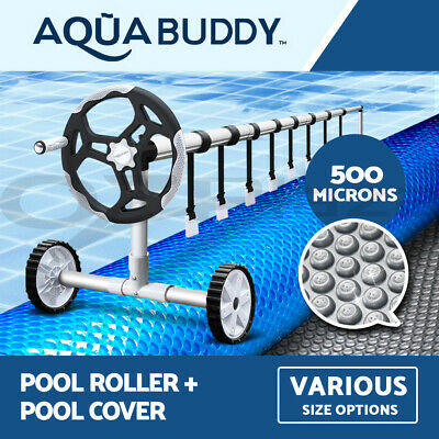 Aquabuddy Solar Swimming Pool Cover Roller 500 Micron Bubble Blanket 8 SIZES