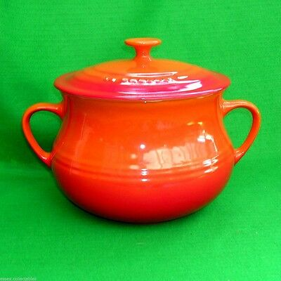 Le Creuset Large 4Q 4.5L Bean Pot Casserole Volcanic Orange Flame Stoneware