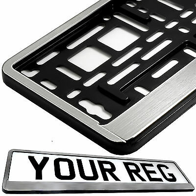 STAINLESS STEEL EFFECT FRONT Car Number Plate Surround Holder FOR ANY CAR VAN