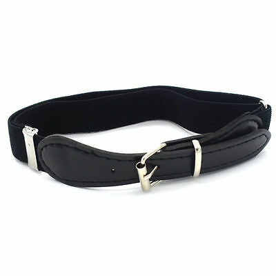 Childrens/kids/boys/girls Adjustable Elasticated Belt With Buckle On Leather