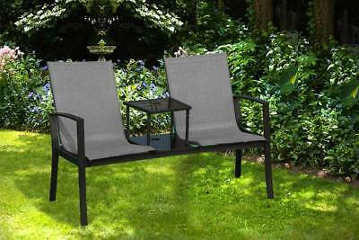 Metal Garden Companion Love Seat Black Double Twin Seating Patio