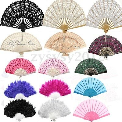 Chinese Spanish Lace Fabric Folding Hand Held Dance Fan Party Wedding Prom UK