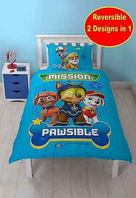 New Paw Patrol 'spy' Design Single Duvet Cover Set Blue Kids Boys Bedroom Bed