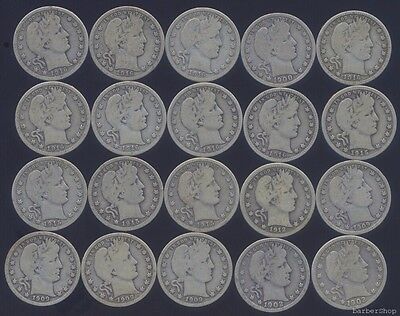 Half ROLL of 20 pcs: mixed date VG silver BARBER QUARTERS, uncleaned original