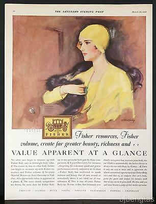 1929 Body by Fisher Beauty Richness McClelland Barclay Art Vintage Print Ad