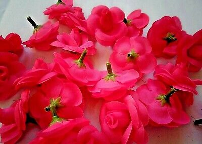 24 X hot pink ROSE/BRIDAL/FLORIST/CORSAGE/CRAFT/BOUQUET/garland/wedding