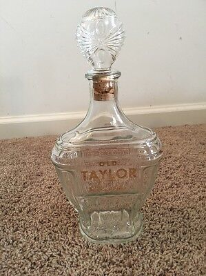 Vintage Antique Old Taylor Kentucky Bourbon Whiskey Glass Decanter Bottle Empty