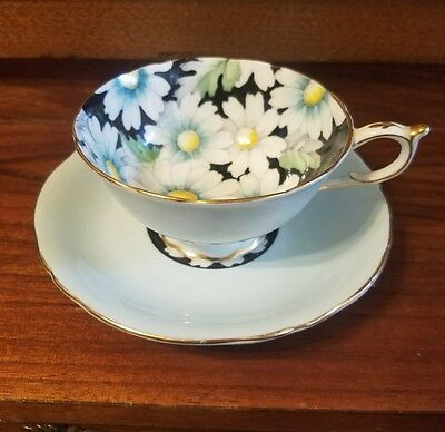 Vintage 1930s Paragon Daisies On Black Fine China Teacup and Saucer