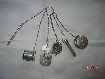 Antique Sterling Silver Chatelaine with Six Useful Objects, Webster ca 1890