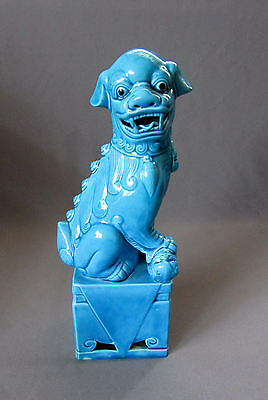 "VINTAGE Chinese Republic Period BLUE MAJOLICA FOO DOG 9 1/2"" Porcelain Statue"