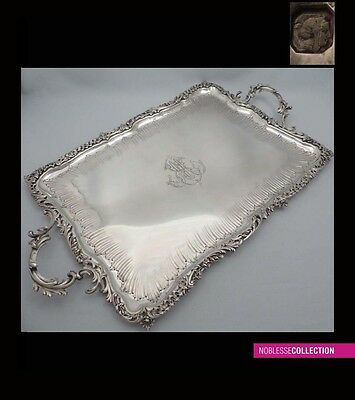 LUXURIOUS ANTIQUE 1890s FRENCH STERLING SILVER SERVING PLATTER/TRAY Rococo 65oz