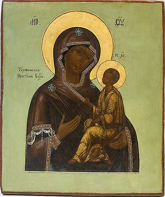Old Antique Russian Icon of Tikhvinskaya Mother of God, 19th c