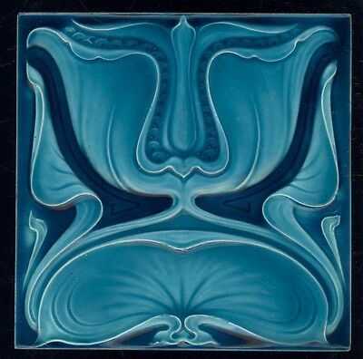 Glorious Rare ART NOUVEAU WATERLILLY tile ALFRED MEAKIN 1900