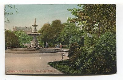 West Hartlepool - Fountain in the Park - Edwardian postcard