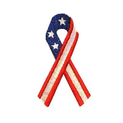 0995e7ea767 ID 1032 America USA Ribbon Patch Flag Patriotic Embroidered Iron On Applique