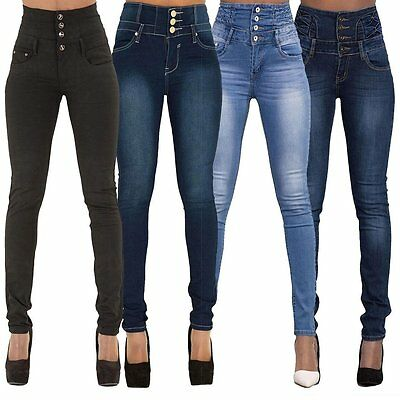 Women High Waist Skinny Pencil Denim Jeans Stretch Slim Fitness Pants Trousers