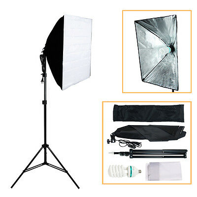 125W Photography Studio Soft Box Continuous Lighting Softbox Light Stand Kit USA