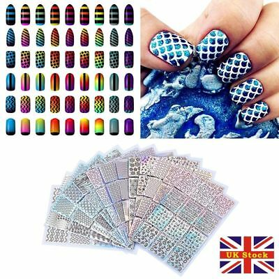 Sticker Nail Art Decal Colorful 3D Tip Hollow Manicure Vinyl Pack of 24