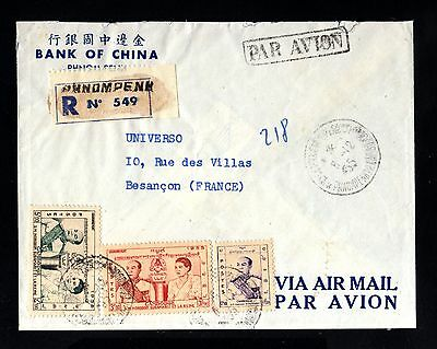 15485-CAMBODIA-AIRMAIL REGISTERED BANK CHINA COVER PHNOMPENN to FRANCE 1955.