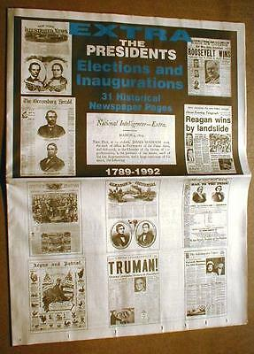 31 Newspaper reprints 1789-1992 US President elections WASHINGTON to CLINTON