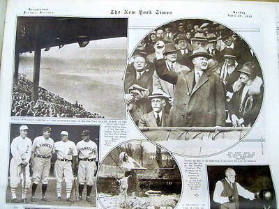 1930 NY Times newspaper w BASEBALL photos of BABE RUTH Lou Gehrig FOXX Simmons