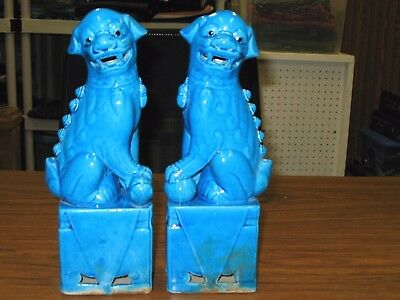 "Pair Of Antique Vintage Turquoise Blue Chinese Porcelain Foo Dogs 10.5"" Tall"