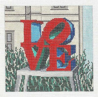 """LOVE"" Statue Philadelphia handpainted Needlepoint Canvas by Needle Crossings"