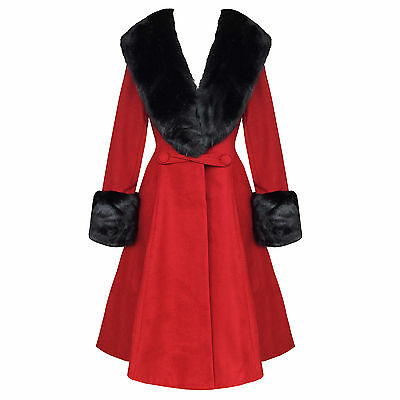 Hell Bunny Shonna Burgundy Red Vintage 50s Fur Collar Winter Coat UK
