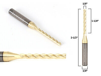 "1/8"" Dia. 4 Flute Upcut ZRN Coated CNC Router Bit - 1/4"" Shank - Yonico 31413-SC"