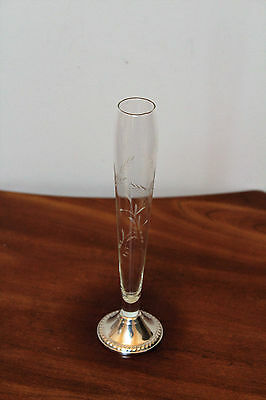 "Duchin Weighted 925 Sterling Silver And Etched Glass Bud Vase ~ 9-1/2"" Tall"