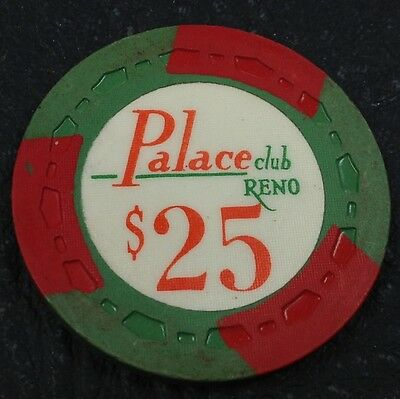 Palace Club $25 Casino Chip Reno Nevada Sm-Crown Mold 1972 FREE SHIPPING
