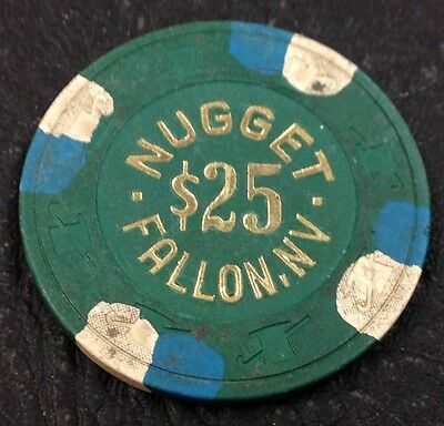 Fallon Nugget $25 Casino Chip Fallon Nevada H&C Paulson 1989 FREE SHIPPING