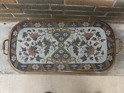 Antique Victorian Glass Hand Beaded Serving Tray Framed In Wood With Handles