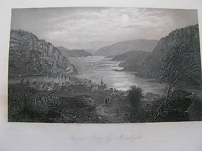 "1874 ORIGINAL View ""Harper's Ferry by Moonlight,"" West Virginia"
