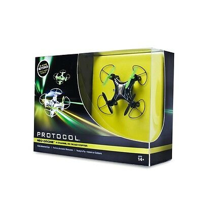 Protocol NEW Deep Black Neon Green Mini Ready To Fly RC Neo-Drone $80 #401