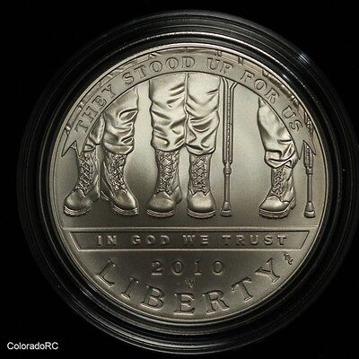2010 W Disabled Veterans Uncirculated Dollar Commemorative Silver Coin with COA