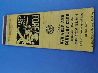 Ava Golf Country Club Brantford  Matchbook Vintage Ontario Canada Tax Stamp
