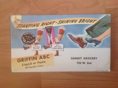 Vintage Griffin ABC Shoe Polish Card 1930s Summit Grocery